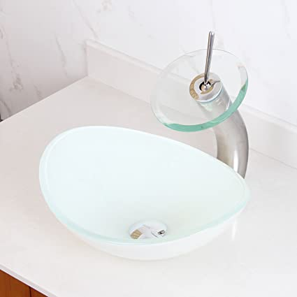 ELITE Tempered Oval Bathroom White Pattern Glass Vessel Sink U0026 Chrome Waterfall  Faucet Combo
