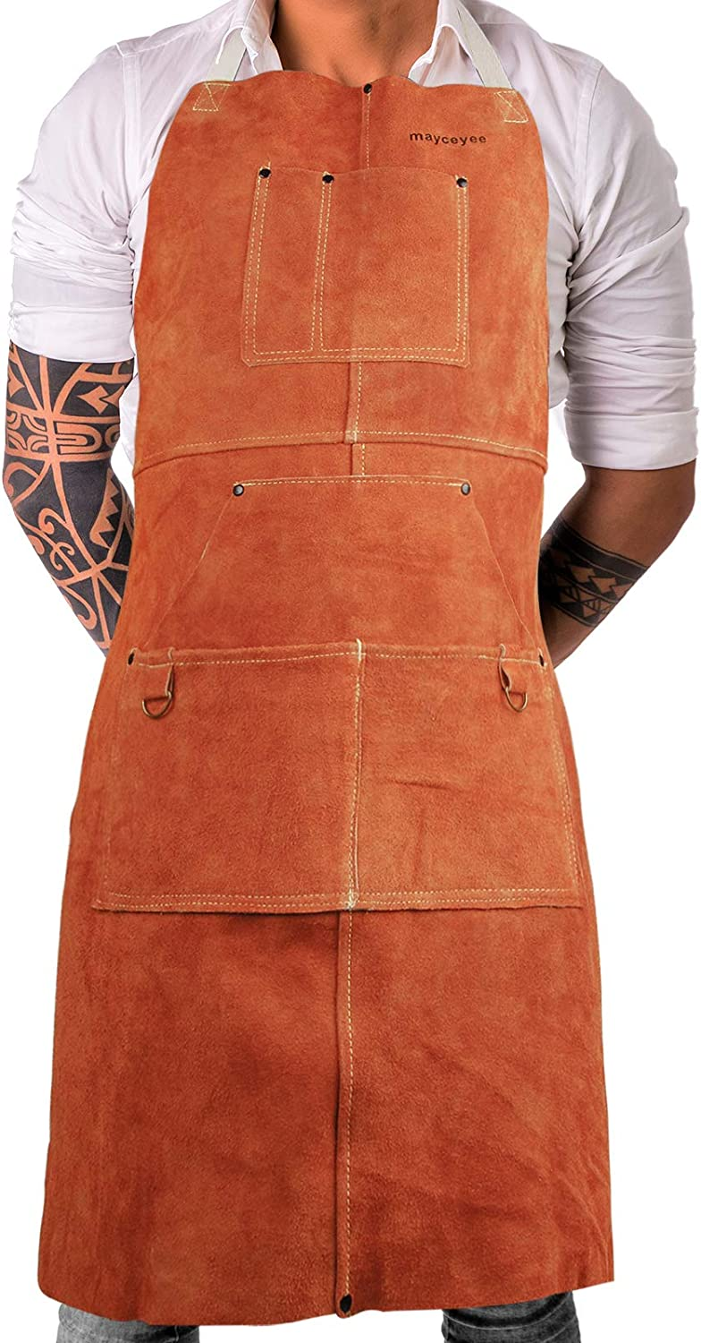 mayceyee Leather Work Shop Apron with 6 Tool Pockets Heat & Flame Resistant Heavy Duty Welding Apron, Adjustable M to XXL for Blacksmith, Woodwork/Heavy Duty Work, for Men & Women (Brown)