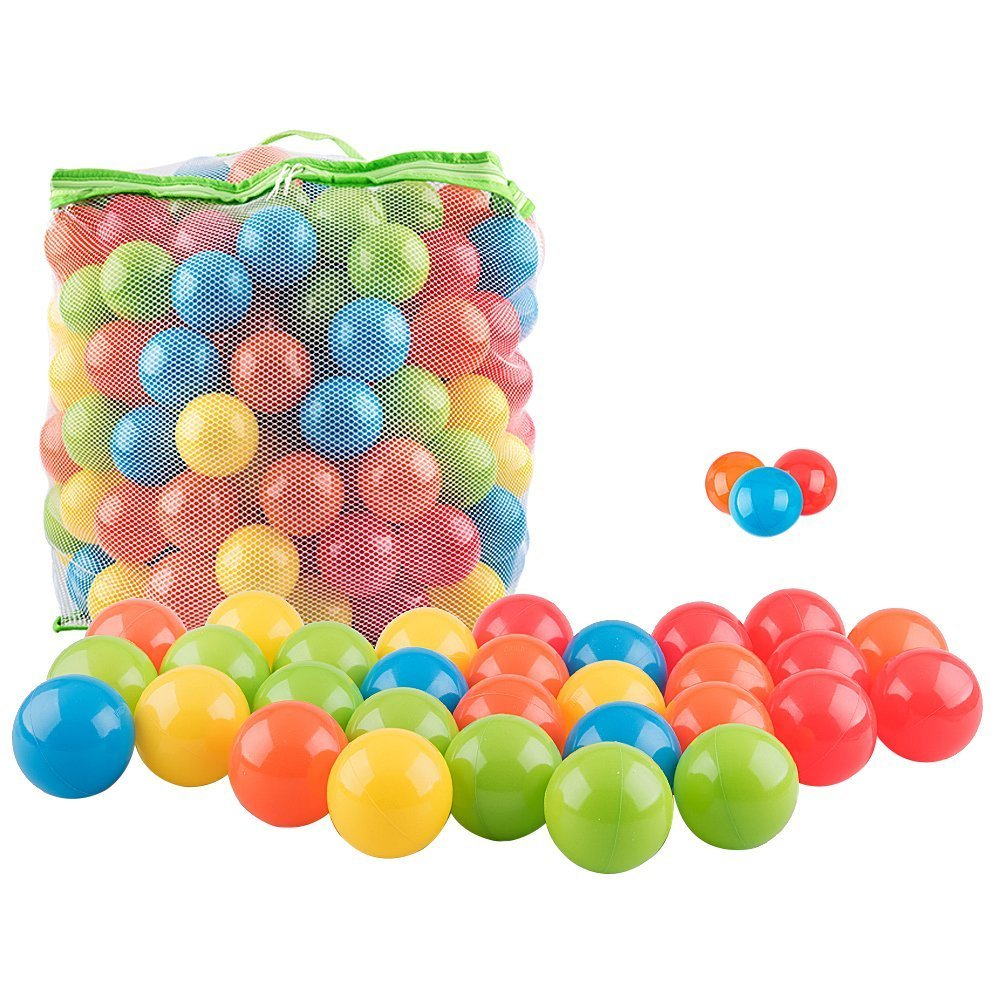 Tebery 200 Pcs Non-Toxic Crush Proof PE Plastic Ball, Pit Balls in Storage Mesh Bag with Zipper, 5 colors