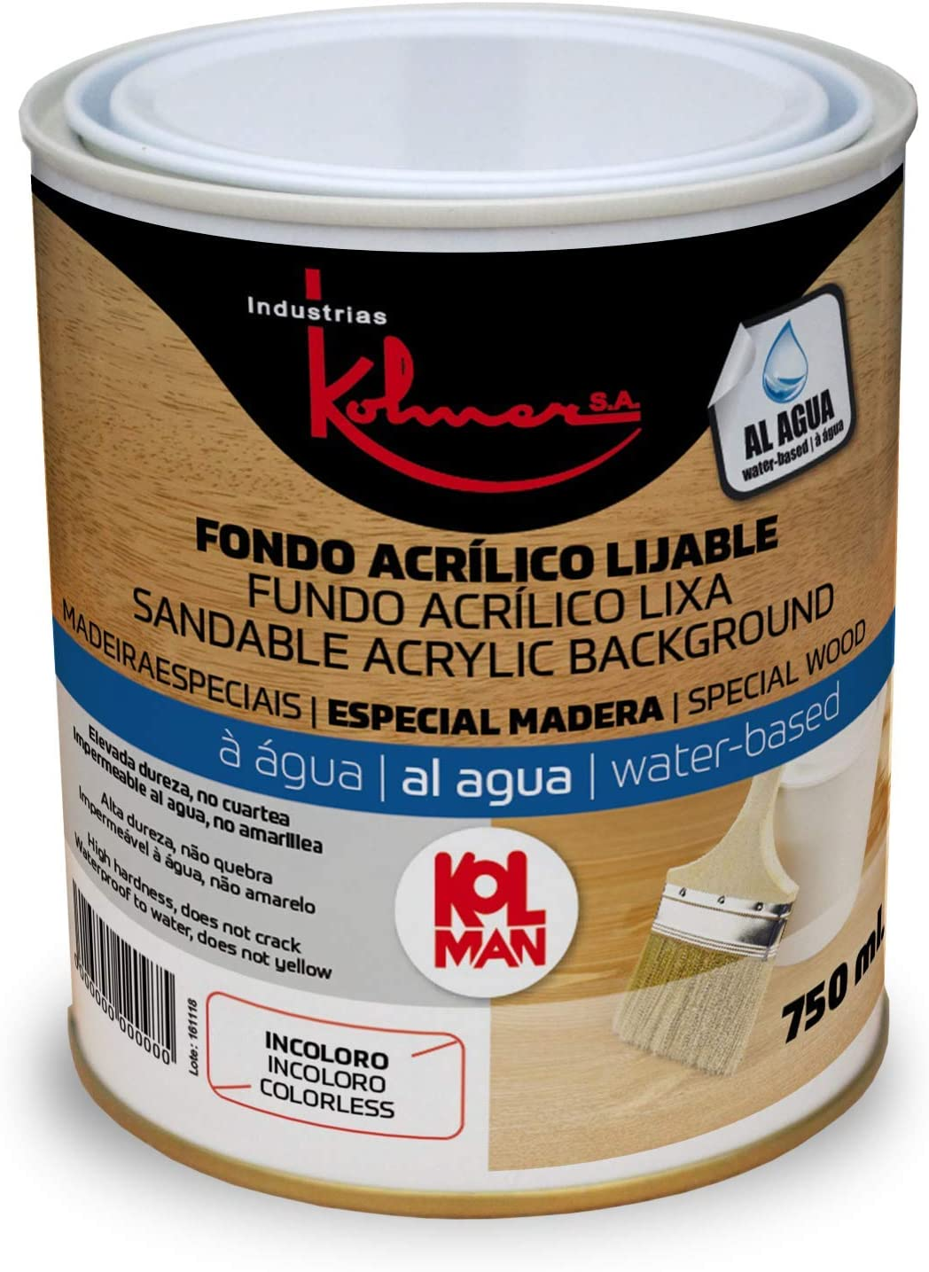 Fondo acrílico lijable al agua Kolman. Tapaporos acrílico al agua (750 ml, incoloro)