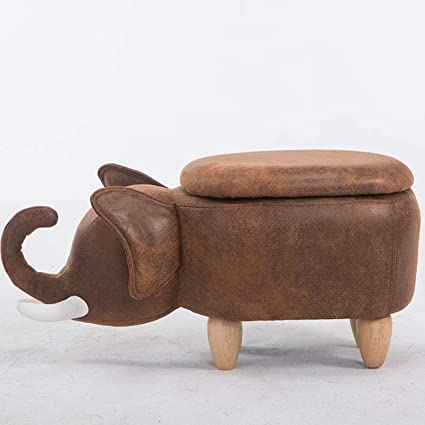 Xcxdx Leather Elephant Shape Storage Stool Wooden Shoe Bench Cute