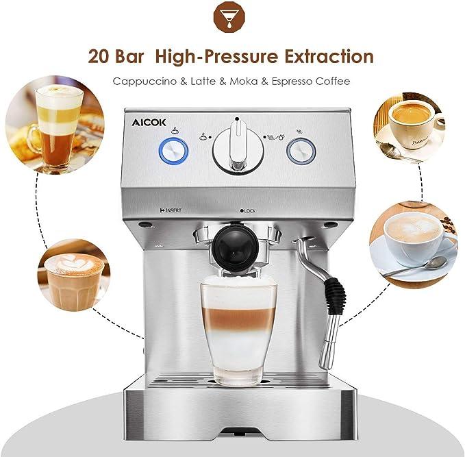 Aicok Cafetera eléctrica italiana manual con bomba de 15 bares, de acero, ideal para café, mousse, capuchino y moka: Amazon.es: Hogar