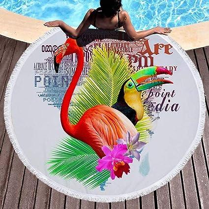 Zhengq Impreso Hojas Tropicales Flor Flamingo Ronda Toalla de Playa Microfibra Toallas de Playa Roundie-