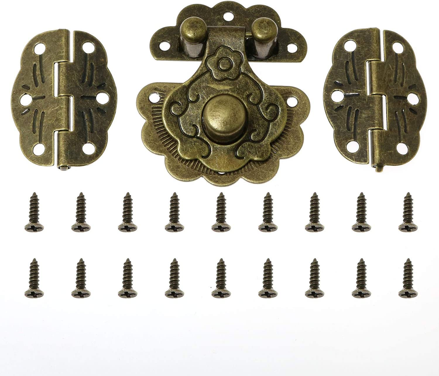 Magic&shell 40x36mm Decorative Antique Style Antique Bronze Embossing Decorative Hasp Latch Lock with Mini Hinge and Screws for Furniture Cabinet Wood Case Jewelry Box