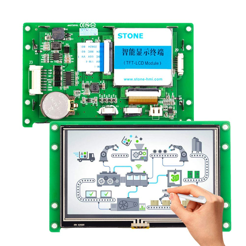 4.3 inch TFT LCD Display Module with Controller + Program + Touch Monitor+ UART Serial Interface