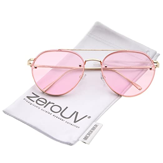 9298515ddc0 Modern Slim Temples Brow Bar Rimless Colored Flat Lens Aviator Sunglasses  59mm (Gold Pink