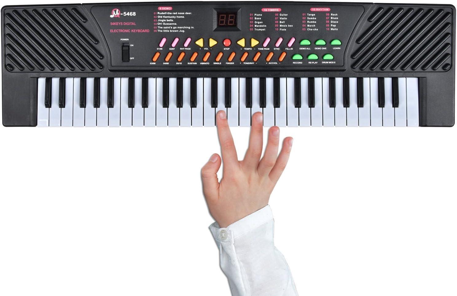 Big Lighting Deals - Teclado para niños (54 teclas, piano musical ...