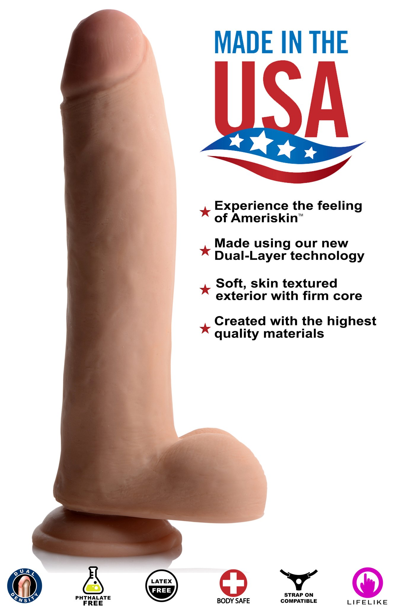 USA Cocks 11 Inch Ultra Real Dual Layer Suction Cup Dildo