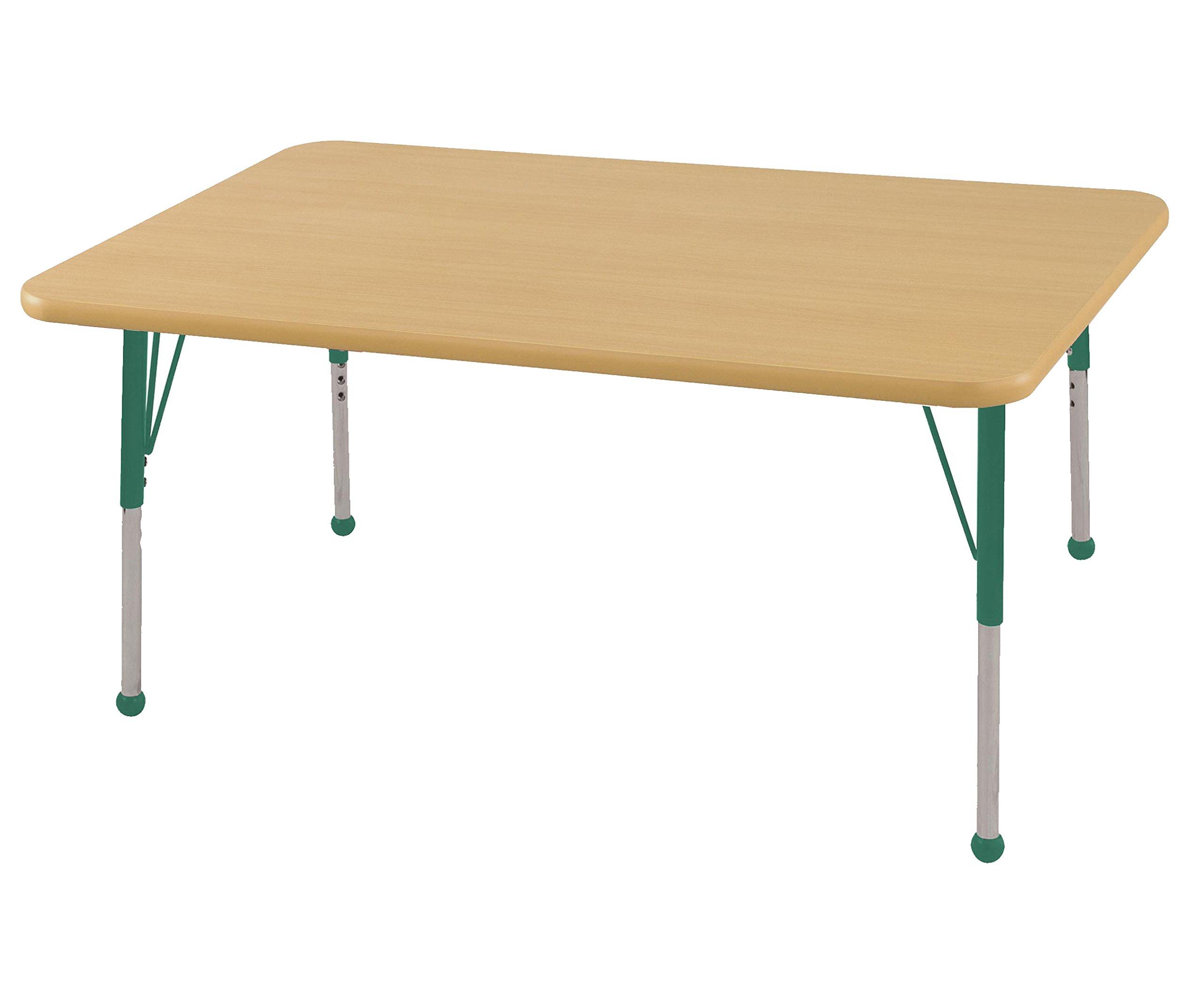 ECR4Kids Mesa T-Mold 30'' x 48'' Rectangular School Activity Table, Standard Legs w/ Ball Glides, Adjustable Height 19-30 inch (Maple/Green)