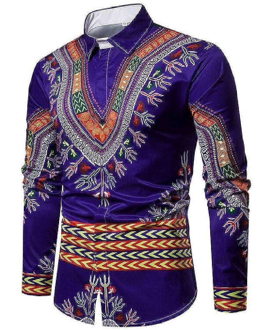 Nanquan Men Long Sleeve African Print Spread Collar Button up Dress Shirts