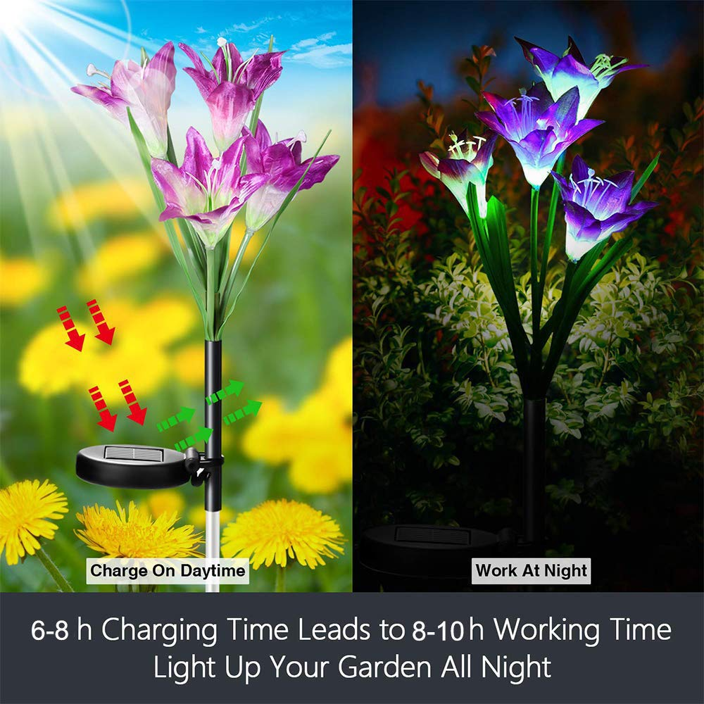 Moore883Maur Solar Garden Light Outdoor Decoration Outdoor 4 Solar Lily Lantern LED Artificial Flower Decorative Light Lily Colorful LED Solar Ground Light Courtyard Backyard LED Solar Light