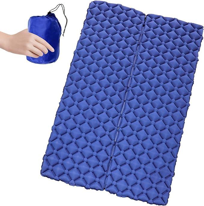 BooQool Estera de Dormir Inflable para 2 Personas - Esterilla Camping, Ultraligero Compacto Colchón de Camping Inflable con diseño único de Hebilla ...