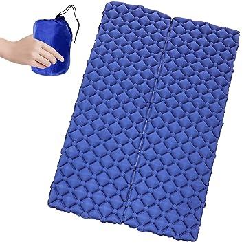Estera de dormir inflable para 2 personas - Esterilla Camping, Ultraligero Compacto Colchón de Camping Inflable con diseño único de hebilla Estera