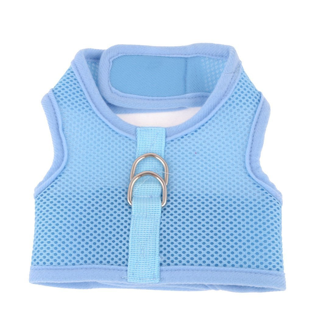 1Pc Lace Flower Design Mesh Breathable Dog Harness Vest Leash Size S Light bluee