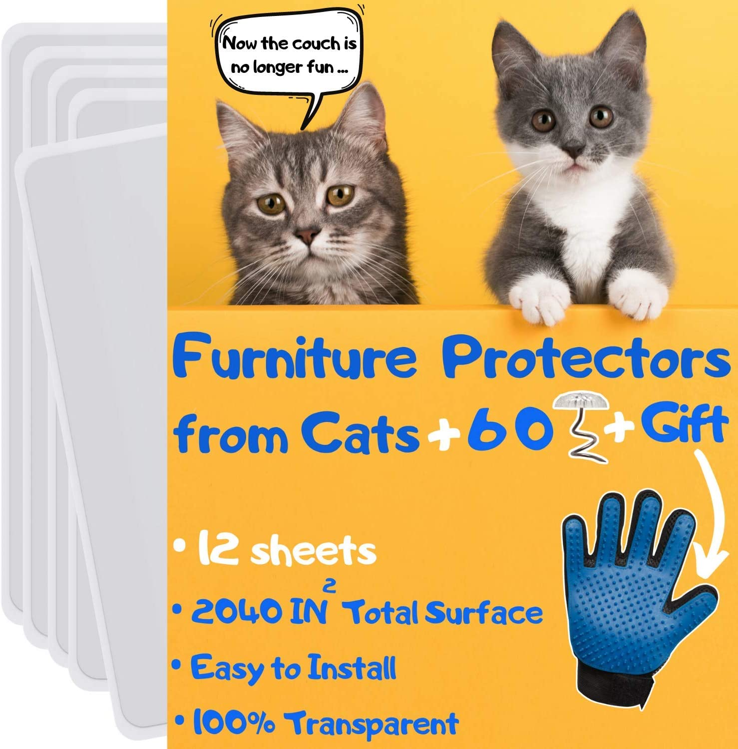 Cat Furniture Protector 12 Pack Cat Couch Protectors For Furniture Furniture Protection From Cat Scratching Couch Protector From Cats Cat Scratch Deterrent Includes Cat Glove Pet Supplies