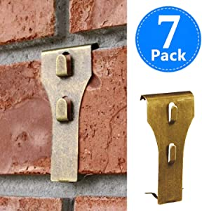 Brick Clips for Hanging, Outdoor Metal Hooks Hanger, Wall Pictures Wreath Lights Fastener Fits Brick 2 1/4 inch to 2 3/8 inch in Height 7 Pack