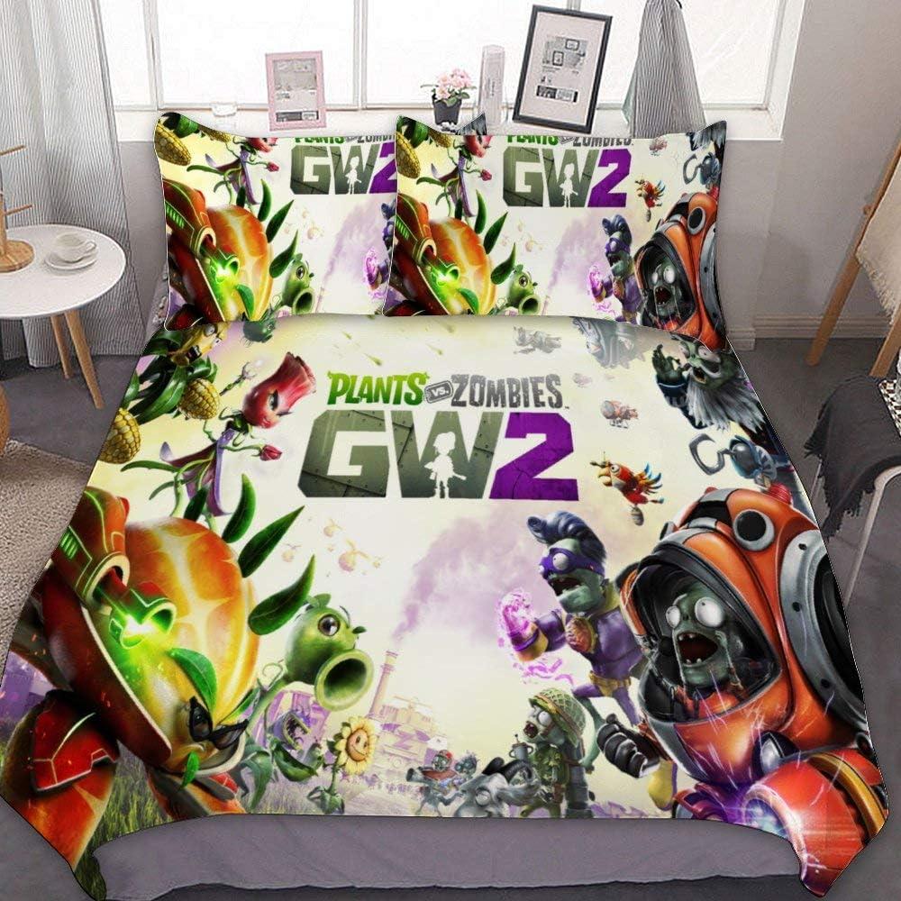 "SfeatrutMAT Bedding Duvet Cover 2 Piece Set,Plants Vs. Zombies Plants Vs. Zombies Garden Warfare 2,Kids Girls Boys Cartoon Bed Set,Twin 55""x79"""