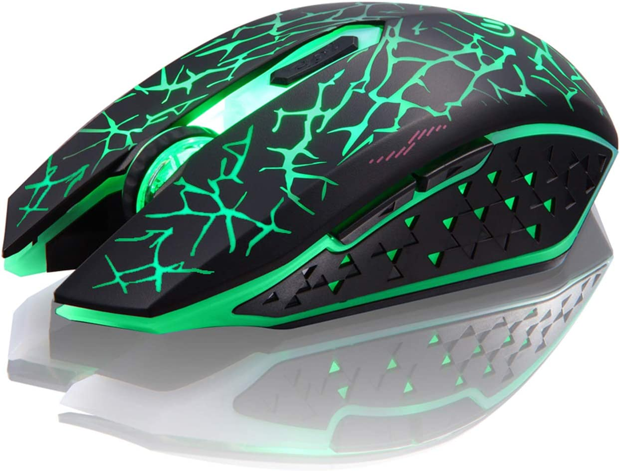 TENMOS K6 Wireless Gaming Mouse, Rechargeable Silent LED Optical Computer Mice with USB Receiver, 3 Adjustable DPI Level and 6 Buttons, Auto Sleeping Compatible Laptop/PC/Notebook (Green Light)