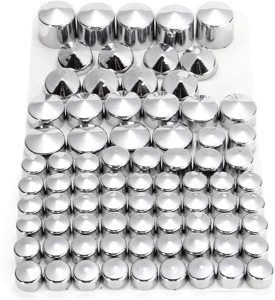 SSGLOVELIN 76pc Moto Vis Chrome Noir Boulon Toppers Caches Kit Fit for Harley-Davidson Dyna Twin CAM 1991-2013 Color : Silver