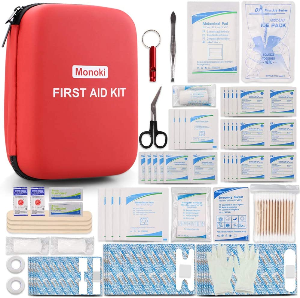 Monoki First Aid Kit, 201 Pcs Emergency Medical Supplies Safety First Aid Kit for Home, Office, School, Car, Boat, Travel