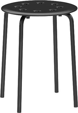 Ikea 101 356 59 Tabouret Marius Empilable Noir 45 Cm Amazon Fr