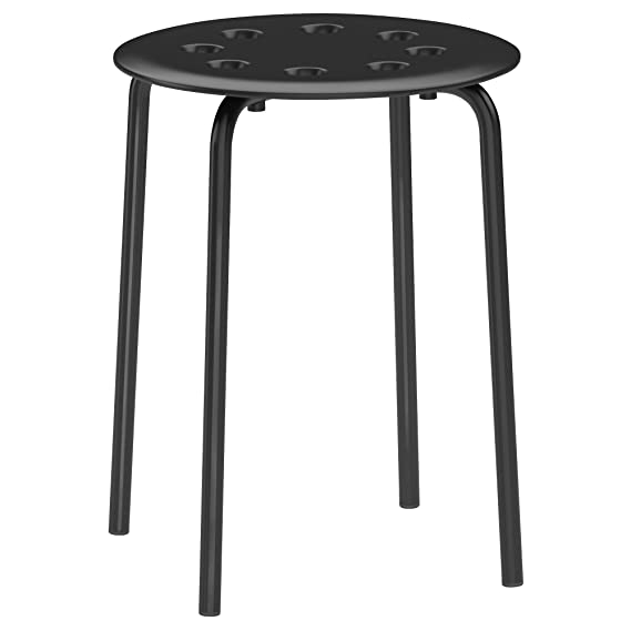 Ikea Marius Hocker in schwarz; stapelbar; (45cm)