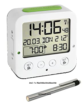 Kurt climática multifunción Reloj Despertador Bingo – Despertador eléctrico, Blanco Incl. Gratis Noche Lámpara