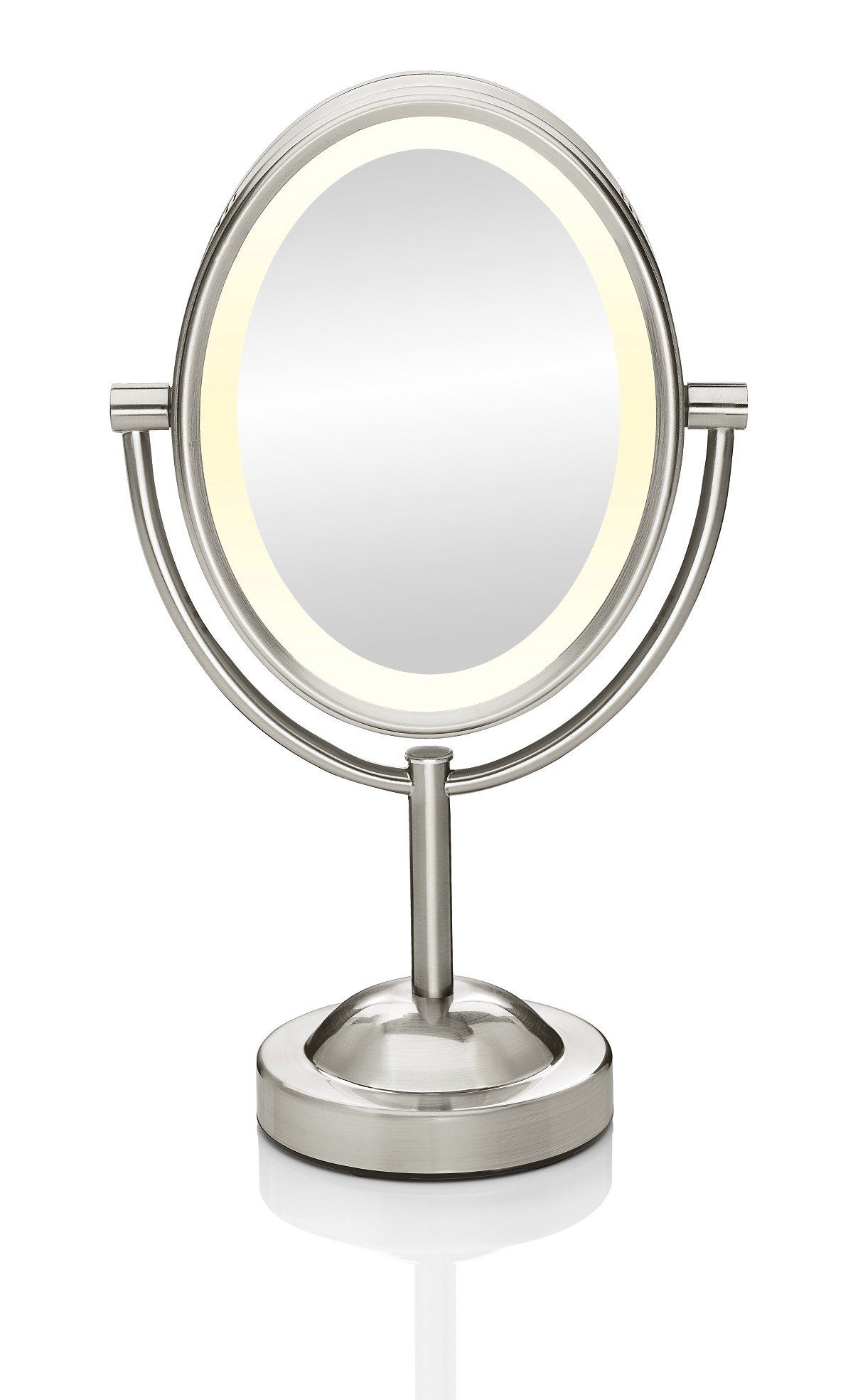 Conair Oval Shaped Double-Sided Lighted Makeup Mirror, 1x/7x magnification, Satin Nickel Finish by Conair