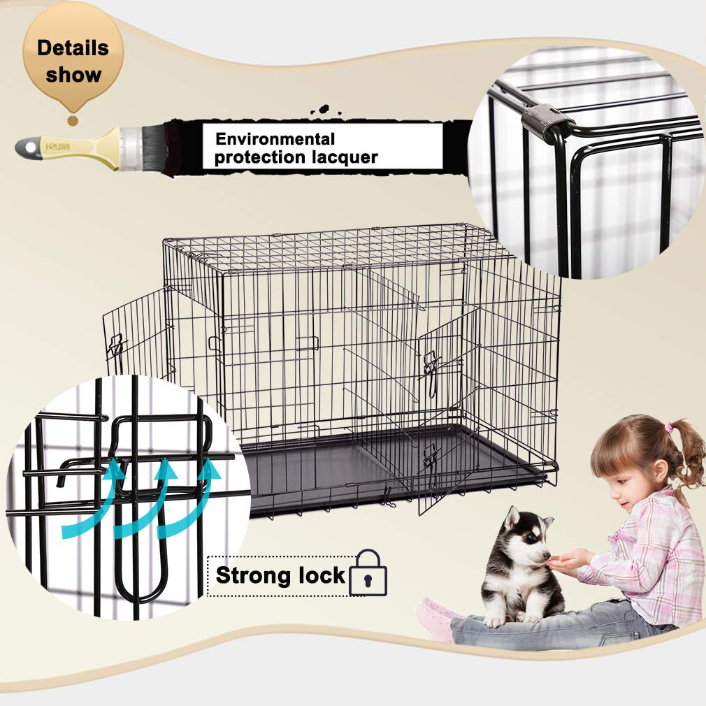 Dog Crate Dog Cage Pet Crate 48 Inch Folding Metal Pet Cage Double Door W/Divider Panel Dog Kennel Leak-Proof Plastic Tray Wire Animal Cage by BestPet (Image #4)