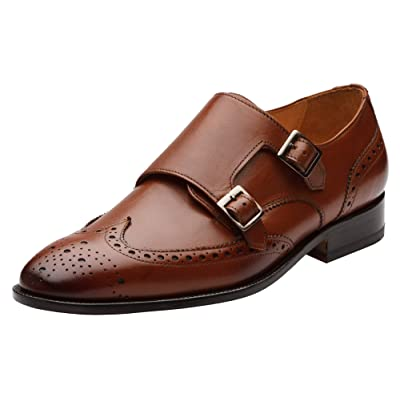 Amazon.com | 3DM Lifestyle Mens Wingtip Brogue Double Monk Strap Modern Classic Dress Shoes US 13-13.5 Cognac | Oxfords