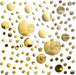 126 Pieces 3D Acrylic Mirror Wall Sticker Round Circle Sticker Wall Decor DIY Removable Mural Mirror Decal Adhesive Decor Round Mirror Sticker Decals for Bedroom Bathroom Windows Doors Office (Gold)