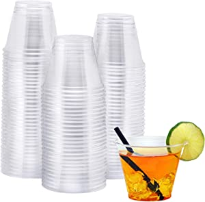 NYHI 200-Pack 9 oz. Clear Cups   Value Pack of BPA-Free Disposable Party Cup Tumblers   Use These Plastic Glasses for Drinks, Cocktails, Wine, Punch, Champagne, More   Essential Party Supplies