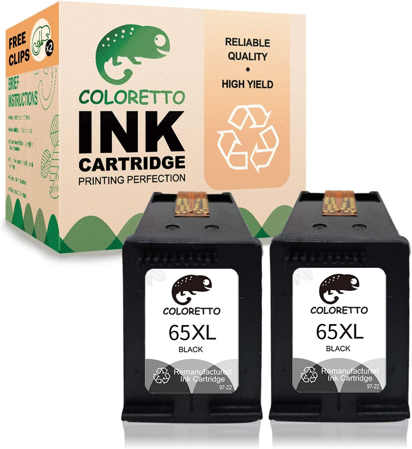 Coloretto Remanufactured Printer Ink Cartridge Replacement for HP 65XL 65 65 XL, used in Deskjet Series 2622 2624 2652 2680 2730 3720 3721 3723 3732 3752 3755 3758 Envy Series 5052 5055 5058 (2 Black)