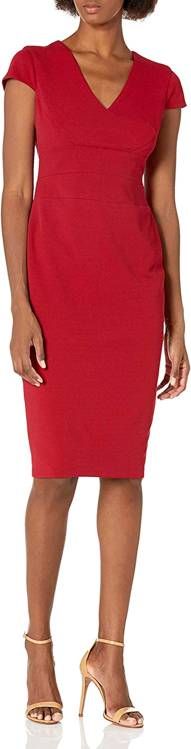Donna Morgan Women's Limited time sale Cap Sleeve Fitted Max 84% OFF Dress Crepe Sheath