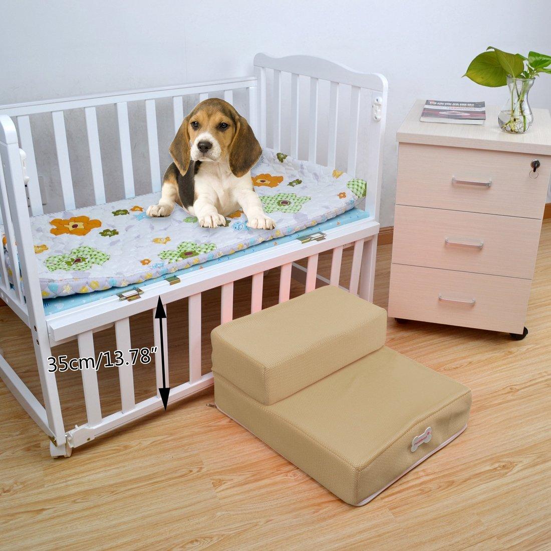 Jiyaru Pet Stairs Dog Cat Breathable 2-Step Ramp Folding Ladder Puppy Supplies Gray
