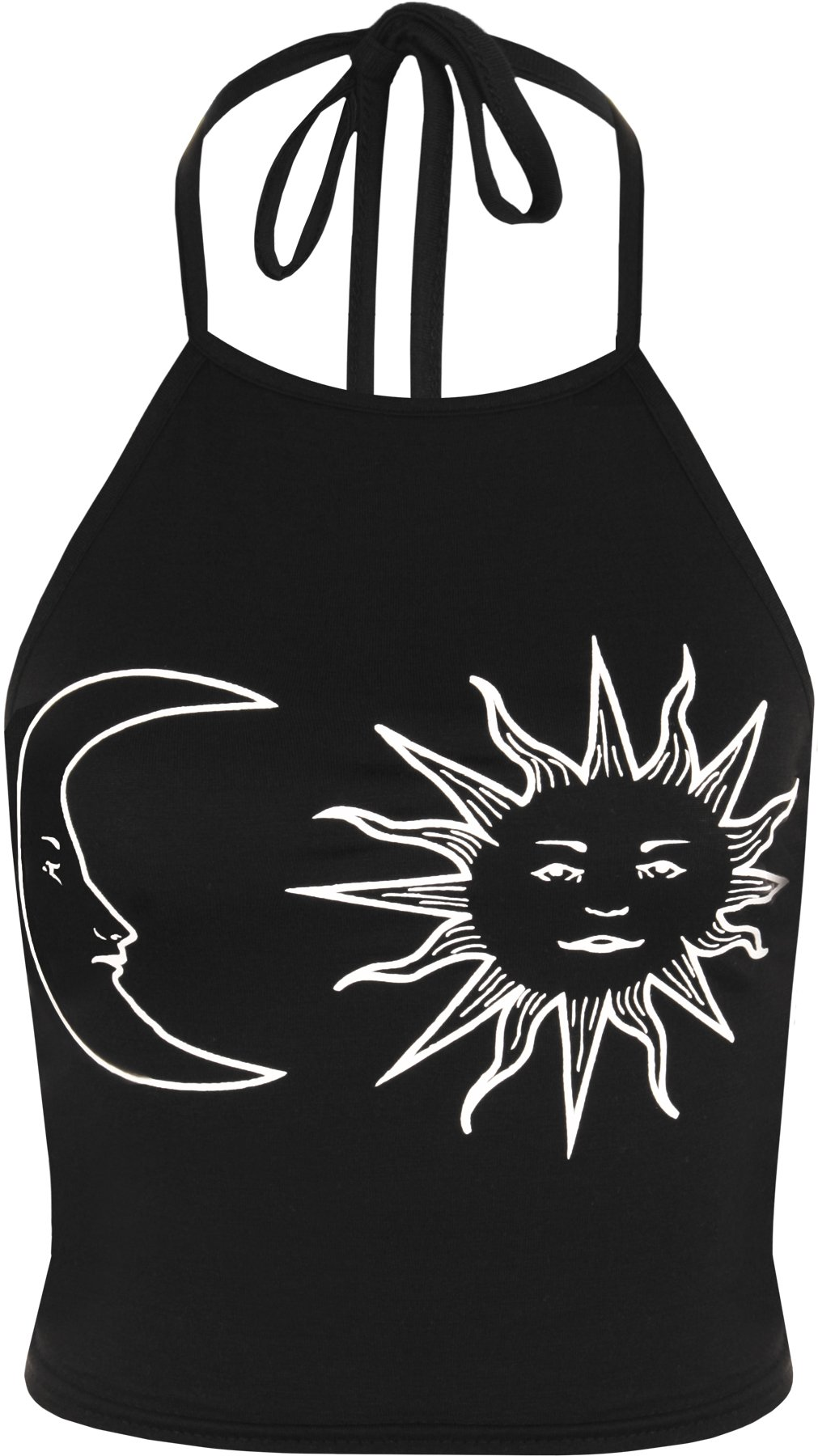 WearAll Women's Sun Moon Print Halter Neck Tied Crop Vest T-Shirt Top - Black White - US 8-10 (UK 12-14)