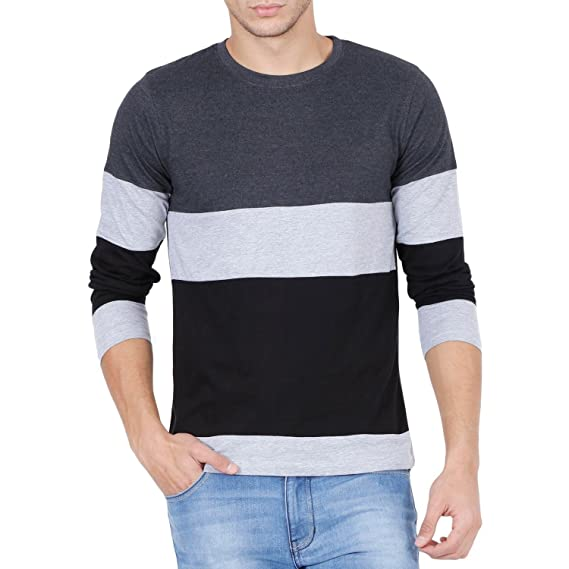 4282e74a2a Style Shell Mens Cotton Tri-color Full Sleeves T-Shirt (Tee Tri  Black   Small