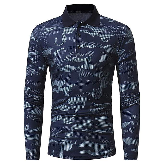 Polo de Camuflaje para Hombre, ♚ Absolute Otoño Invierno Casual Muslo Delgado Camisa de Manga Larga Top Blusa: Amazon.es: Ropa y accesorios