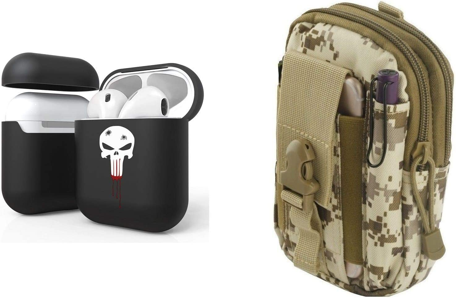 Bemz [Slim Lightweight] Protective Case Cover Bundle for Apple AirPods (Gen 1, 2) with 600D Waterproof Nylon Material Tactical Electronics Storage Pouch and Lens Wipe - (Bloody Skull/Desert Camo)