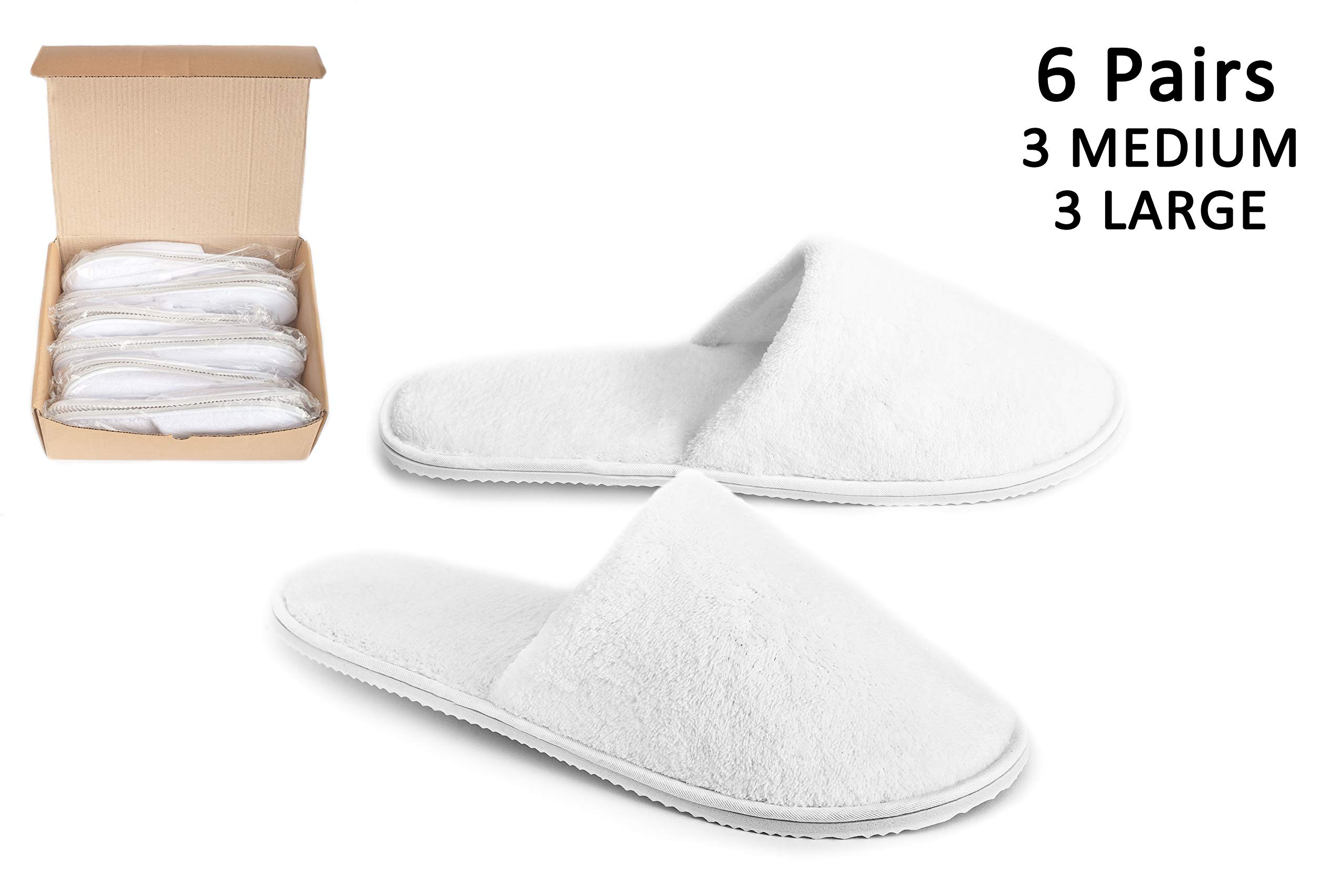 DŠ Stuff Spa Slippers - 6 Pairs (White, 3 Large,3 Medium) Cotton Coral Velvet Closed Toe Fits Most Men and Women, for Home Hotel Guest Travel Used, Deluxe Padded Sole for Extra Comfort, Non-Slip by DŠ Stuff