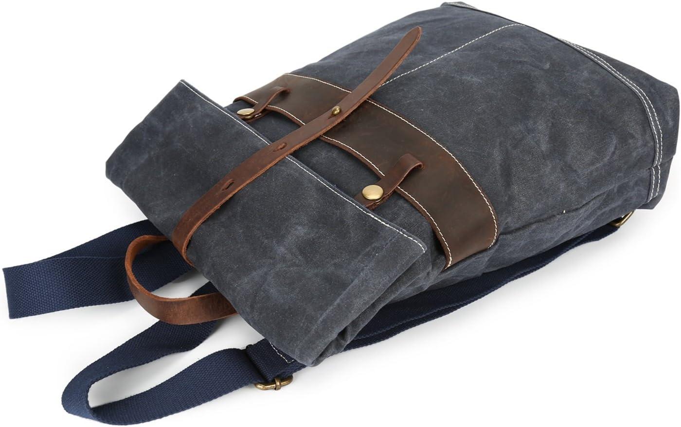 Color : Blue, Size : M Lydianzishangwu Mens Backpack Oil Wax Vintage Batik Waterproof Outdoor Travel Backpack