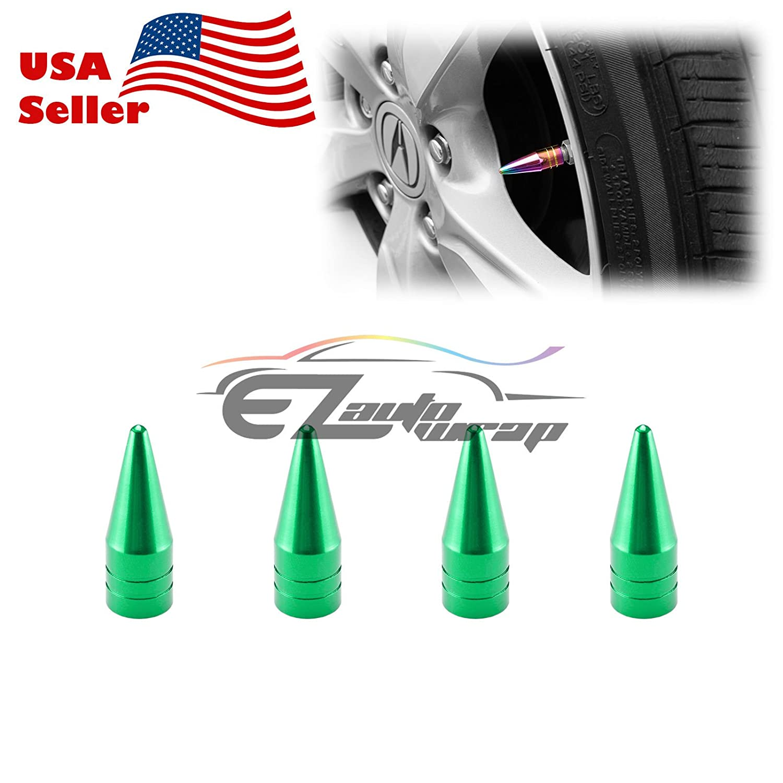 EZAUTOWRAP 4PCs Gold Long Spike Spiked Tire Valve Stem Caps Metal Thread Wheel Tires TVC29