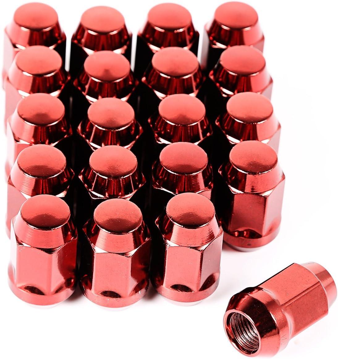 Wheel Lug Nut Set of 20 Red 1//2-20 x 16715.24