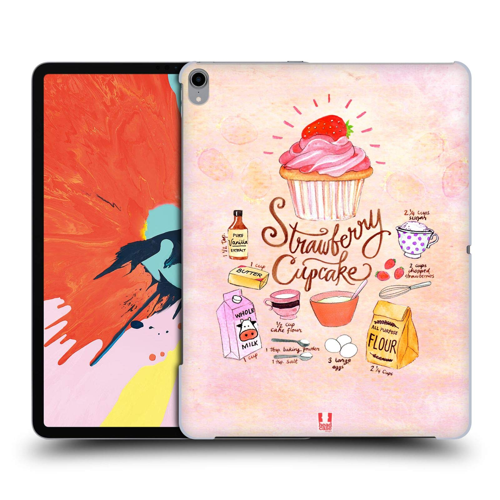 Head Case Designs Strawberry Cupcake Illustrated Recipes Hard Back Case Compatible for iPad Pro 12.9 (2018) by Head Case Designs