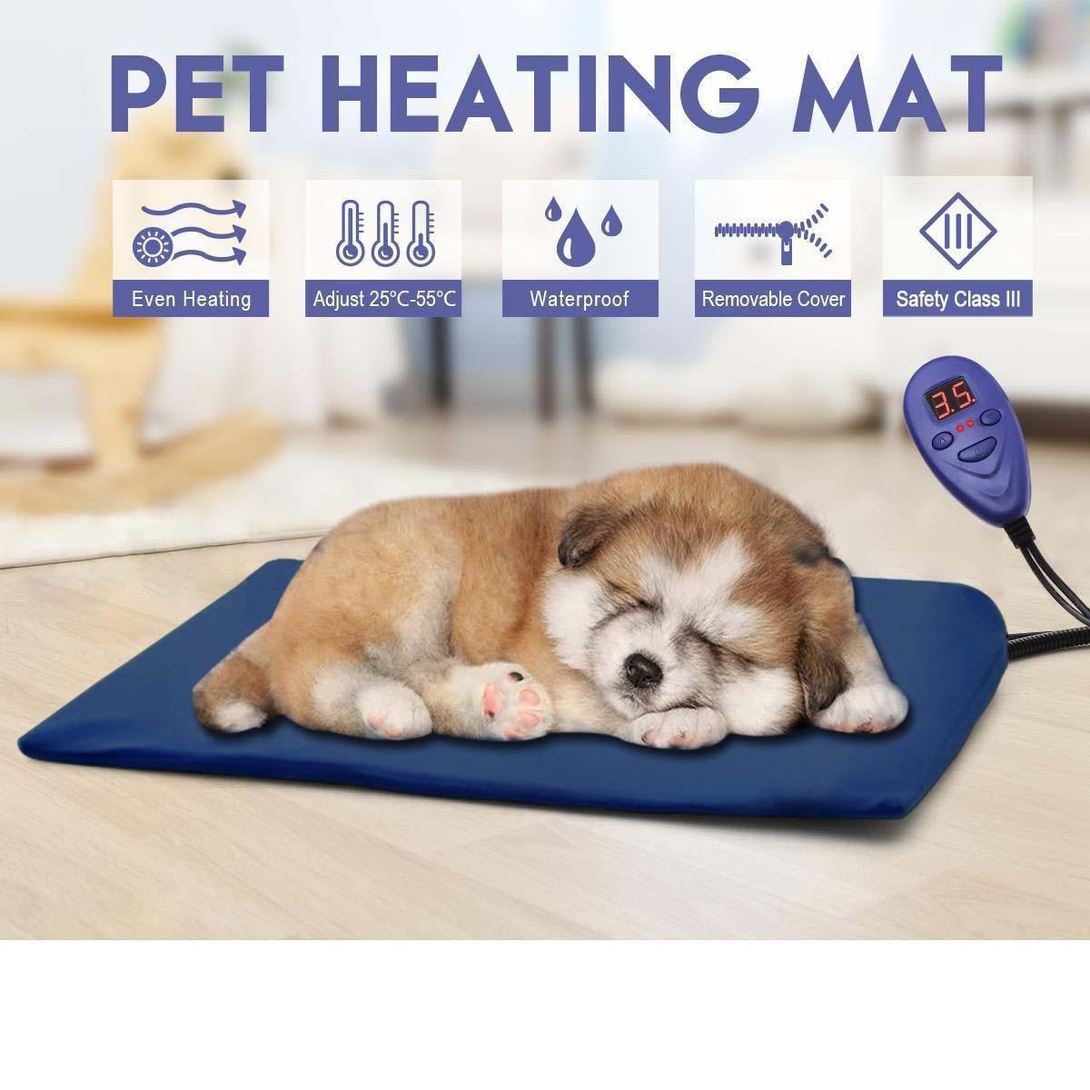 xueyan Mascota manta eléctrica almohadilla de calefacción a prueba de agua anti-mordida calefacción eléctrica termostato calefacción calentador perro gato conejo caliente, 4030cm, azul