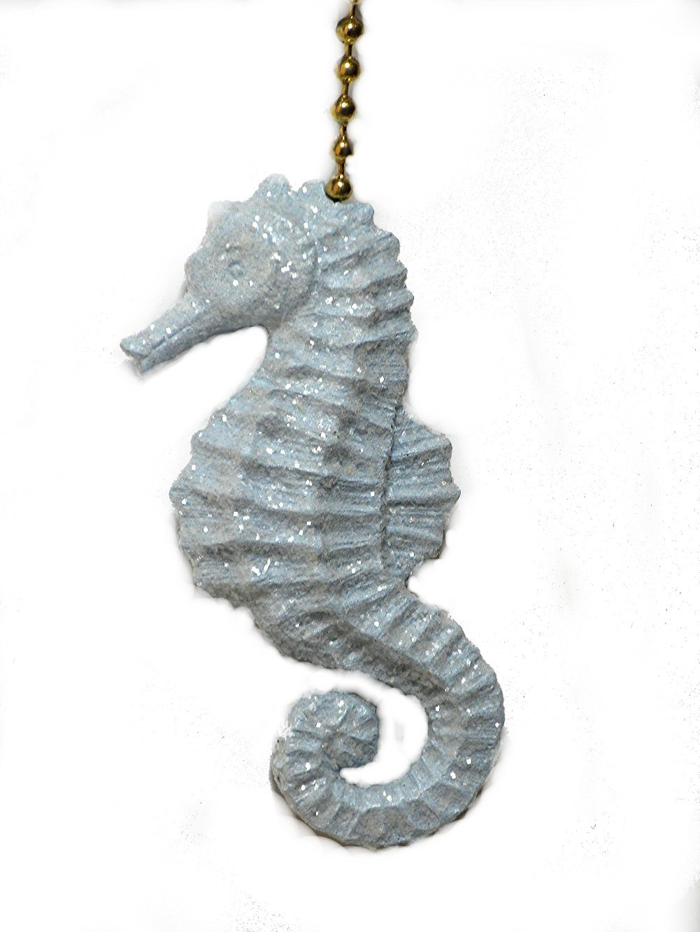 Sparkling light blue Seahorse ceiling Fan Pull chain ornament by Clementine Designs