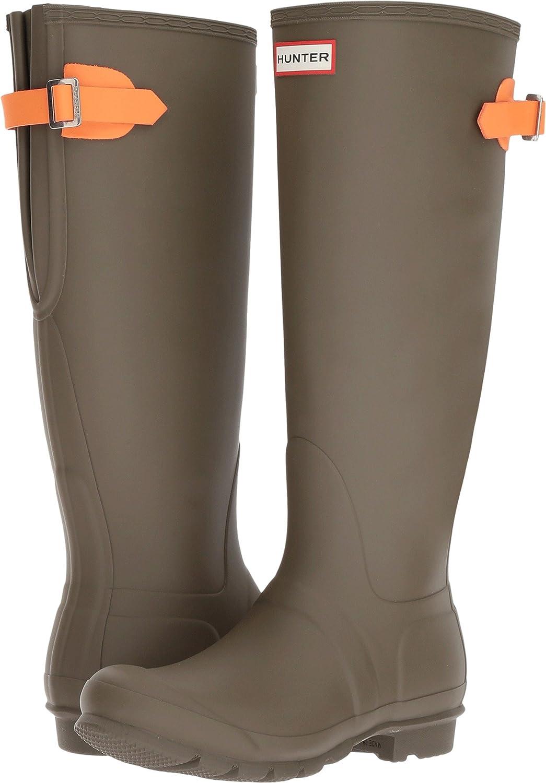 Hunter Womens Original Back Adjustable Rain Boots B06ZYV4MFL 5 B(M) US|Swamp Green/Comet Orange