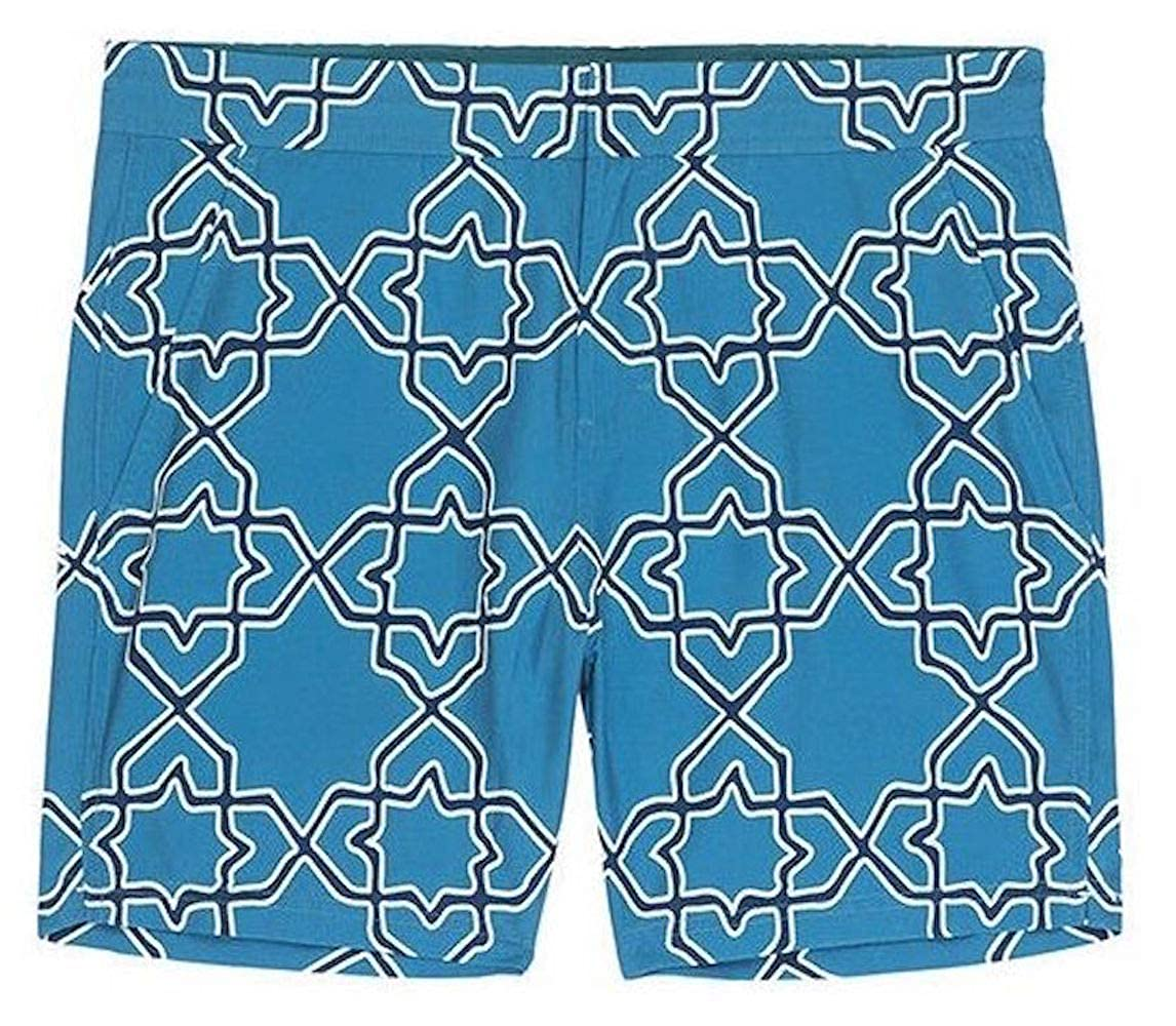 76bdfba928de4 Jachs NY Mens Tile Geo Print Aqua Hampton Swim Trunks | Amazon.com
