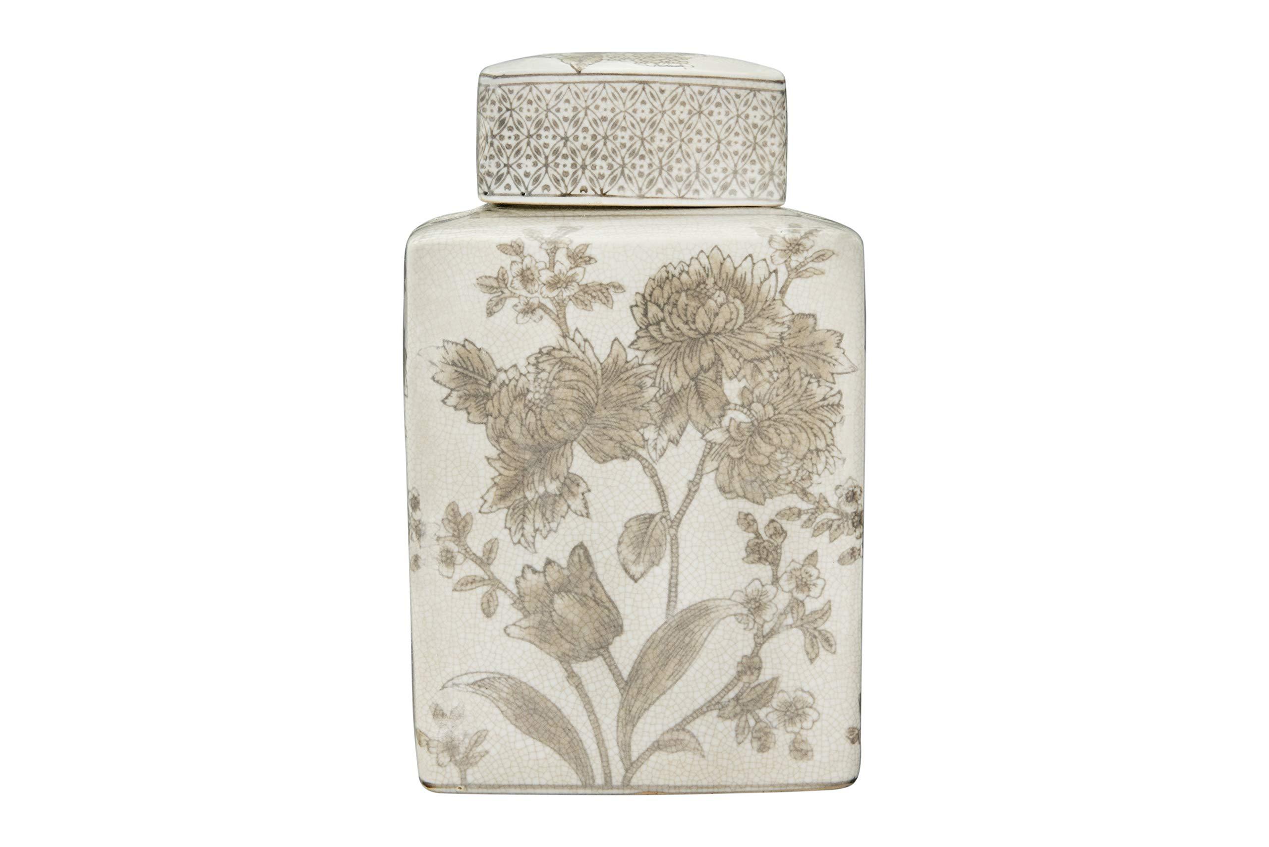 Creative Co-op Large Brown Floral Transferware Stoneware Lid Ginger Jar,