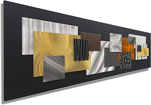 Amazon Com Large Black Gold Silver Copper Geometric Modern Metal Wall Art Sculpture Abstract Metal Wall Hanging Unique Earth Tone Home Office Decor City In Fall By Jon